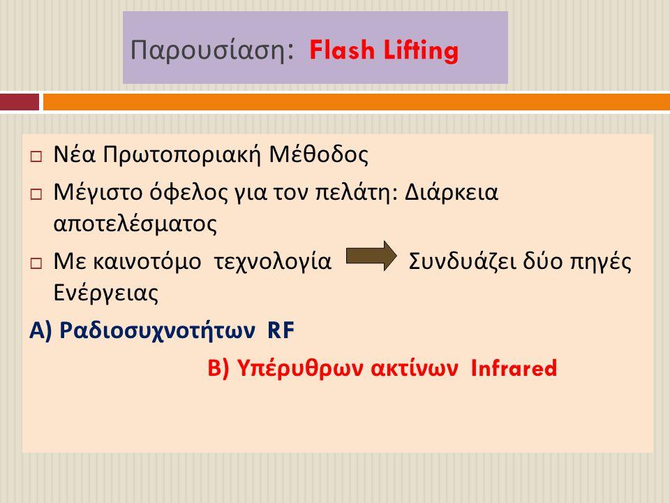 Παρουσίαση : Flash Lifting  Νέα Πρωτοποριακή Μέθοδος  Μέγιστο όφελος για τον πελάτη : Διάρκεια αποτελέσματος  Με καινοτόμο τεχνολογία Συνδυάζει δύο