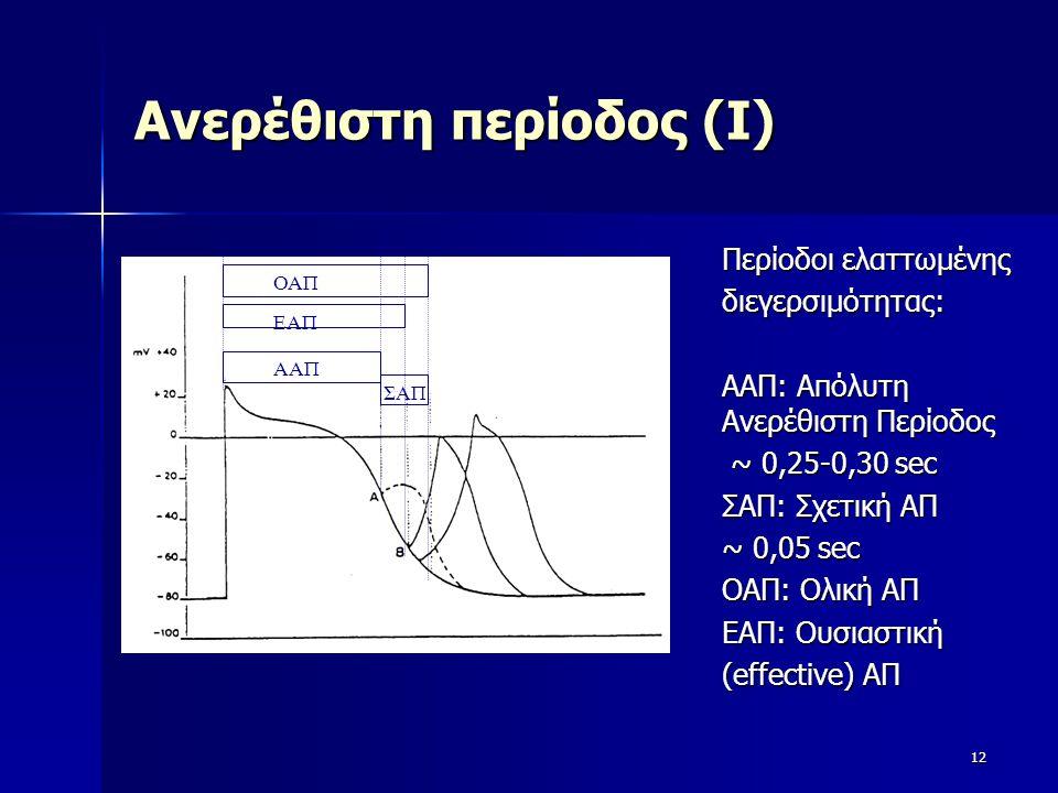 Ανερέθιστη περίοδος (Ι) 12 ΣΑΠ ΕΑΠ ΑΑΠ ΟΑΠ Περίοδοι ελαττωμένης διεγερσιμότητας: ΑΑΠ: Απόλυτη Ανερέθιστη Περίοδος ~ 0,25-0,30 sec ~ 0,25-0,30 sec ΣΑΠ:
