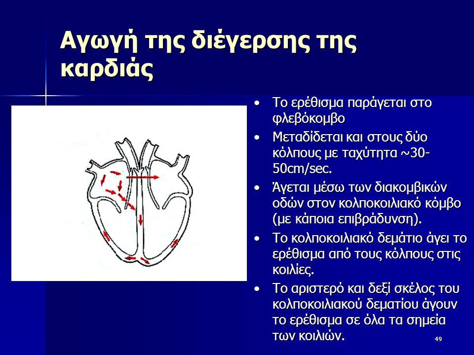 Αγωγή της διέγερσης της καρδιάς 49 Το ερέθισμα παράγεται στο φλεβόκομβοΤο ερέθισμα παράγεται στο φλεβόκομβο Μεταδίδεται και στους δύο κόλπους με ταχύτ