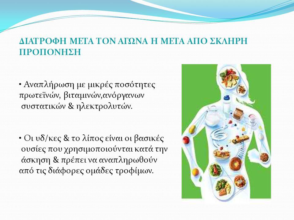 ΔΙΑΤΡΟΦΗ ΜΕΤΑ ΤΟΝ ΑΓΩΝΑ Η ΜΕΤΑ ΑΠΟ ΣΚΛΗΡΗ ΠΡΟΠΟΝΗΣΗ Αναπλήρωση με μικρές ποσότητες πρωτεϊνών, βιταμινών,ανόργανων συστατικών & ηλεκτρολυτών. Οι υδ/κες