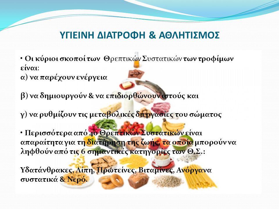 Οι κύριοι σκοποί των Θρεπτικών Συστατικών των τροφίμων είναι: α) να παρέχουν ενέργεια β) να δημιουργούν & να επιδιορθώνουν ιστούς και γ) να ρυθμίζουν τις μεταβολικές διεργασίες του σώματος Περισσότερα από 40 Θρεπτικών Συστατικών είναι απαραίτητα για τη διατήρηση της ζωής, τα οποία μπορούν να ληφθούν από τις 6 σημαντικές κατηγορίες των Θ.Σ.: Υδατάνθρακες, Λίπη, Πρωτείνες, Βιταμίνες, Ανόργανα συστατικά & Νερό.