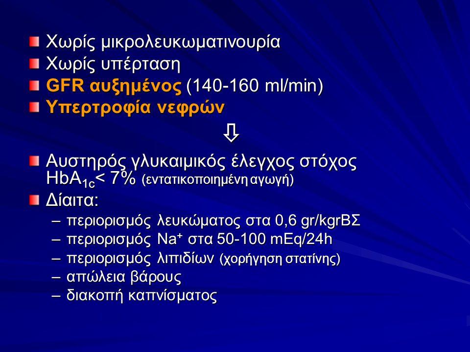 Χωρίς μικρολευκωματινουρία Χωρίς υπέρταση GFR αυξημένος (140-160 ml/min) Υπερτροφία νεφρών  Αυστηρός γλυκαιμικός έλεγχος στόχος HbA 1c < 7% (εντατικοποιημένη αγωγή) Δίαιτα: –περιορισμός λευκώματος στα 0,6 gr/kgrΒΣ –περιορισμός Na + στα 50-100 mEq/24h –περιορισμός λιπιδίων (χορήγηση στατίνης) –απώλεια βάρους –διακοπή καπνίσματος