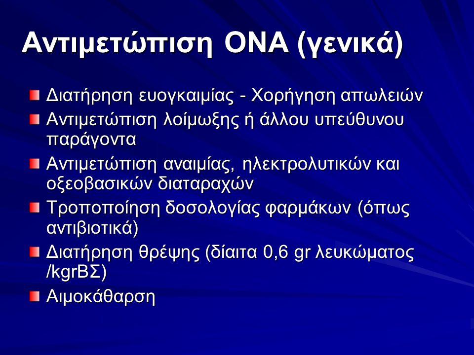 Αντιμετώπιση ΟΝΑ (γενικά) Διατήρηση ευογκαιμίας - Χορήγηση απωλειών Αντιμετώπιση λοίμωξης ή άλλου υπεύθυνου παράγοντα Αντιμετώπιση αναιμίας, ηλεκτρολυτικών και οξεοβασικών διαταραχών Τροποποίηση δοσολογίας φαρμάκων (όπως αντιβιοτικά) Διατήρηση θρέψης (δίαιτα 0,6 gr λευκώματος /kgrΒΣ) Αιμοκάθαρση