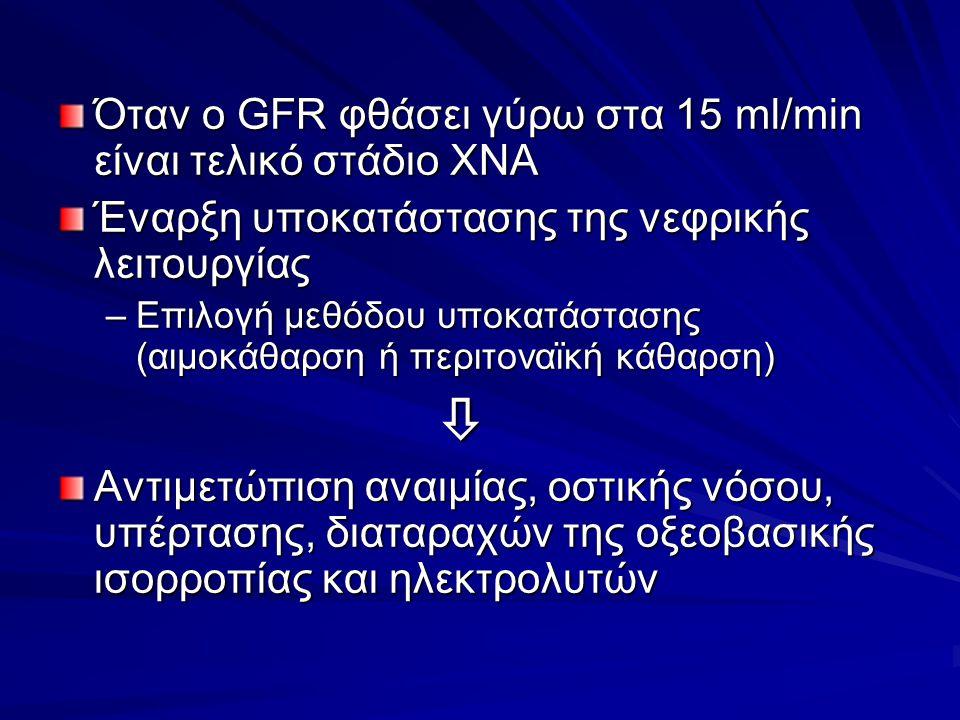 Όταν ο GFR φθάσει γύρω στα 15 ml/min είναι τελικό στάδιο ΧΝΑ Έναρξη υποκατάστασης της νεφρικής λειτουργίας –Επιλογή μεθόδου υποκατάστασης (αιμοκάθαρση ή περιτοναϊκή κάθαρση)  Αντιμετώπιση αναιμίας, οστικής νόσου, υπέρτασης, διαταραχών της οξεοβασικής ισορροπίας και ηλεκτρολυτών