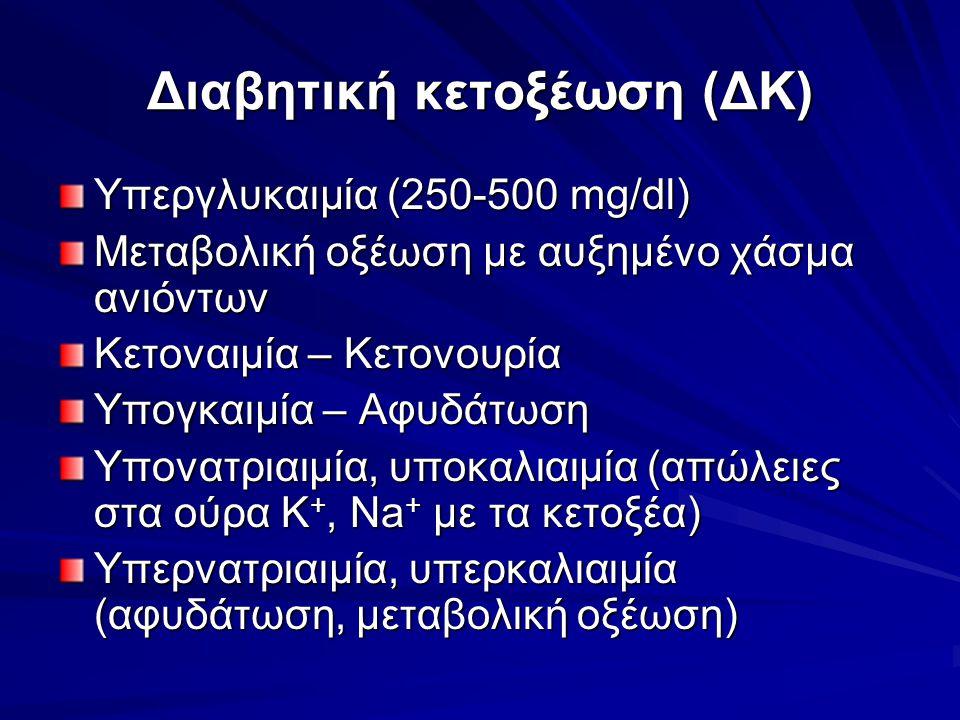 Διαβητική κετοξέωση (ΔΚ) Υπεργλυκαιμία (250-500 mg/dl) Μεταβολική οξέωση με αυξημένο χάσμα ανιόντων Κετοναιμία – Κετονουρία Υπογκαιμία – Αφυδάτωση Υπονατριαιμία, υποκαλιαιμία (απώλειες στα ούρα Κ +, Na + με τα κετοξέα) Υπερνατριαιμία, υπερκαλιαιμία (αφυδάτωση, μεταβολική οξέωση)