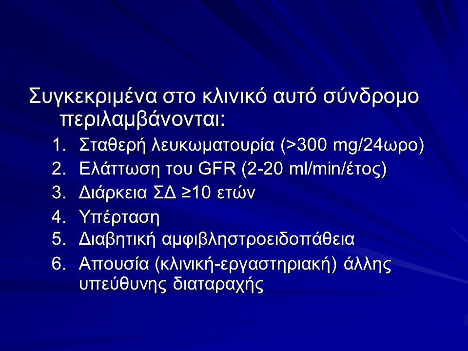 Συγκεκριμένα στο κλινικό αυτό σύνδρομο περιλαμβάνονται: 1.Σταθερή λευκωματουρία (>300 mg/24ωρο) 2.Ελάττωση του GFR (2-20 ml/min/έτος) 3.Διάρκεια ΣΔ ≥10 ετών 4.Υπέρταση 5.Διαβητική αμφιβληστροειδοπάθεια 6.Απουσία (κλινική-εργαστηριακή) άλλης υπεύθυνης διαταραχής