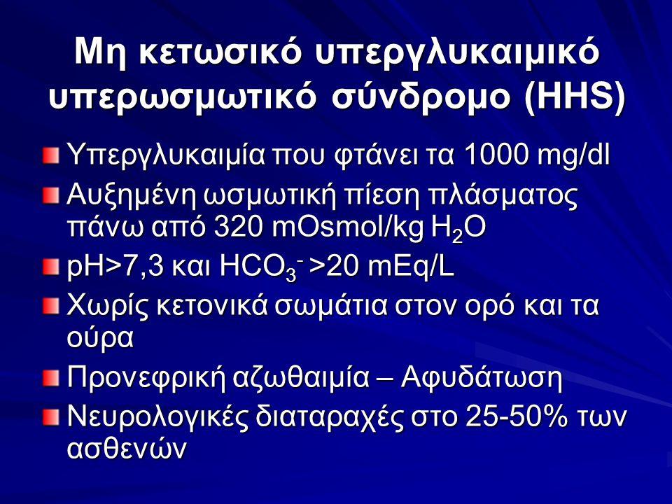 Μη κετωσικό υπεργλυκαιμικό υπερωσμωτικό σύνδρομο (HHS) Υπεργλυκαιμία που φτάνει τα 1000 mg/dl Αυξημένη ωσμωτική πίεση πλάσματος πάνω από 320 mOsmol/kg H 2 O pH>7,3 και HCO 3 - >20 mEq/L Χωρίς κετονικά σωμάτια στον ορό και τα ούρα Προνεφρική αζωθαιμία – Αφυδάτωση Νευρολογικές διαταραχές στο 25-50% των ασθενών