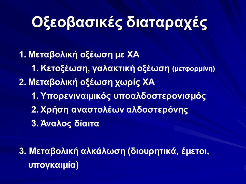 Οξεοβασικές διαταραχές 1.Μεταβολική οξέωση με ΧΑ 1.Κετοξέωση, γαλακτική οξέωση (μετφορμίνη) 2.Μεταβολική οξέωση χωρίς ΧΑ 1.Υπορενιναιμικός υποαλδοστερονισμός 2.Χρήση αναστολέων αλδοστερόνης 3.Άναλος δίαιτα 3.