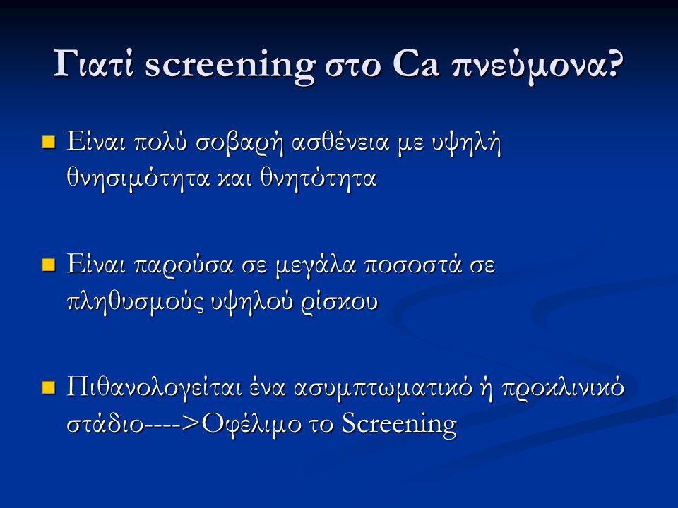 Γιατί screening στο Ca πνεύμονα.