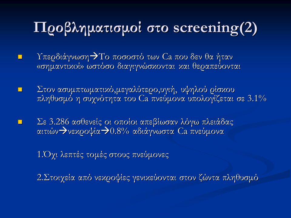 Προβληματισμοί στο screening(2) Υπερδιάγνωση  Το ποσοστό των Ca που δεν θα ήταν «σημαντικoί» ωστόσο διαγιγνώσκονται και θεραπεύονται Υπερδιάγνωση  Το ποσοστό των Ca που δεν θα ήταν «σημαντικoί» ωστόσο διαγιγνώσκονται και θεραπεύονται Στον ασυμπτωματικό,μεγαλύτερο,υγιή, υψηλού ρίσκου πληθυσμό η συχνότητα του Ca πνεύμονα υπολογίζεται σε 3.1% Στον ασυμπτωματικό,μεγαλύτερο,υγιή, υψηλού ρίσκου πληθυσμό η συχνότητα του Ca πνεύμονα υπολογίζεται σε 3.1% Σε 3.286 ασθενείς οι οποίοι απεβίωσαν λόγω πλειάδας αιτιών  νεκροψία  0.8% αδιάγνωστα Ca πνεύμονα Σε 3.286 ασθενείς οι οποίοι απεβίωσαν λόγω πλειάδας αιτιών  νεκροψία  0.8% αδιάγνωστα Ca πνεύμονα 1.Όχι λεπτές τομές στους πνεύμονες 1.Όχι λεπτές τομές στους πνεύμονες 2.Στοιχεία από νεκροψίες γενικεύονται στον ζώντα πληθυσμό 2.Στοιχεία από νεκροψίες γενικεύονται στον ζώντα πληθυσμό