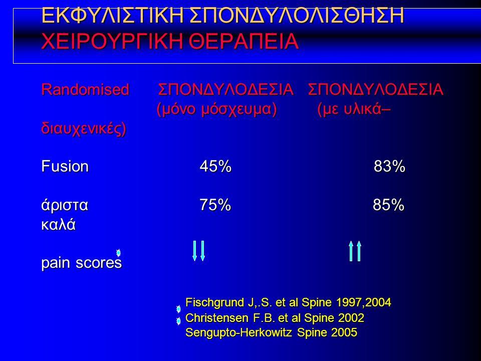 ΕΚΦΥΛΙΣΤΙΚΗ ΣΠΟΝΔΥΛΟΛΙΣΘΗΣΗ ΧΕΙΡΟΥΡΓΙΚΗ ΘΕΡΑΠΕΙΑ Randomised ΣΠΟΝΔΥΛΟΔΕΣΙΑ ΣΠΟΝΔΥΛΟΔΕΣΙΑ (μόνο μόσχευμα) (με υλικά– διαυχενικές) Fusion 45% 83% άριστα