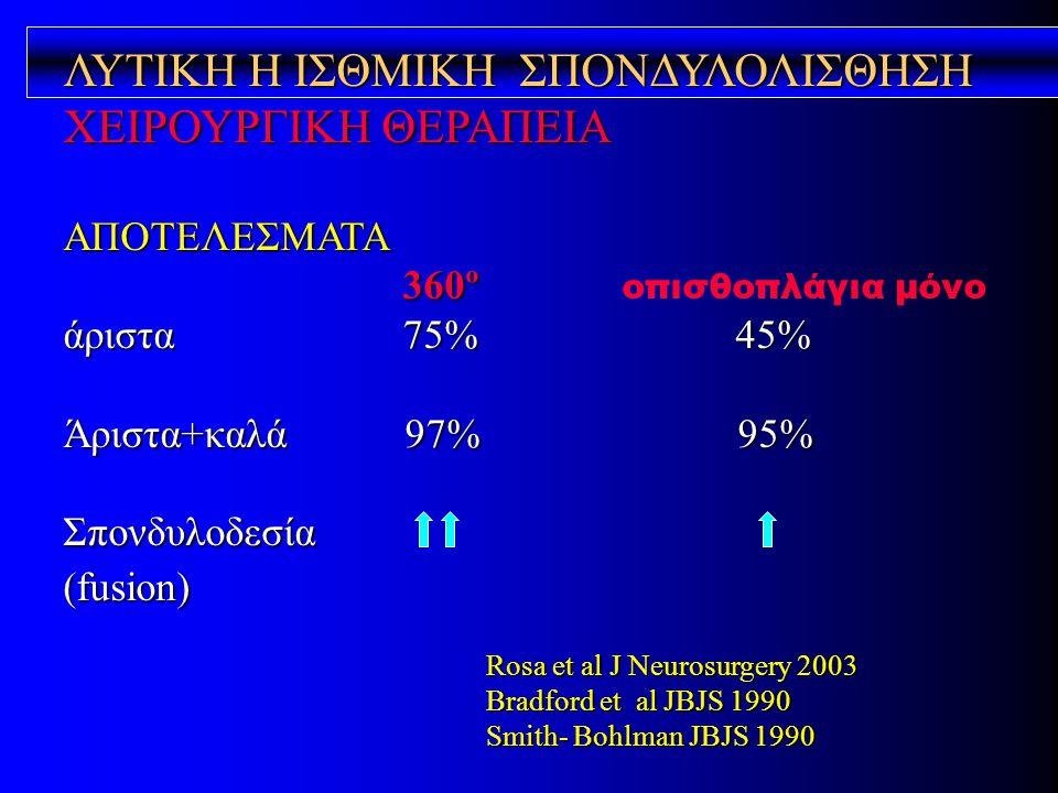 ΛΥΤΙΚΗ Η ΙΣΘΜΙΚΗ ΣΠΟΝΔΥΛΟΛΙΣΘΗΣΗ ΧΕΙΡΟΥΡΓΙΚΗ ΘΕΡΑΠΕΙΑ ΑΠΟΤΕΛΕΣΜΑΤΑ 360º 360º οπισθοπλάγια μόνο άριστα 75% 45% Άριστα+καλά 97% 95% Σπονδυλοδεσία(fusion
