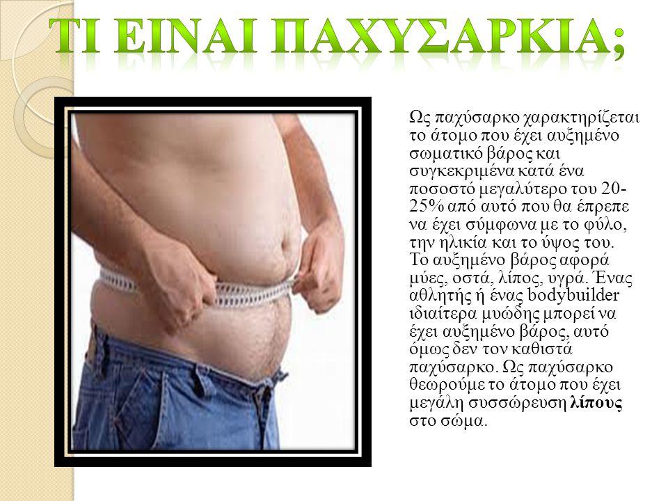 Ως παχύσαρκο χαρακτηρίζεται το άτομο που έχει αυξημένο σωματικό βάρος και συγκεκριμένα κατά ένα ποσοστό μεγαλύτερο του 20- 25% από αυτό που θα έπρεπε να έχει σύμφωνα με το φύλο, την ηλικία και το ύψος του.
