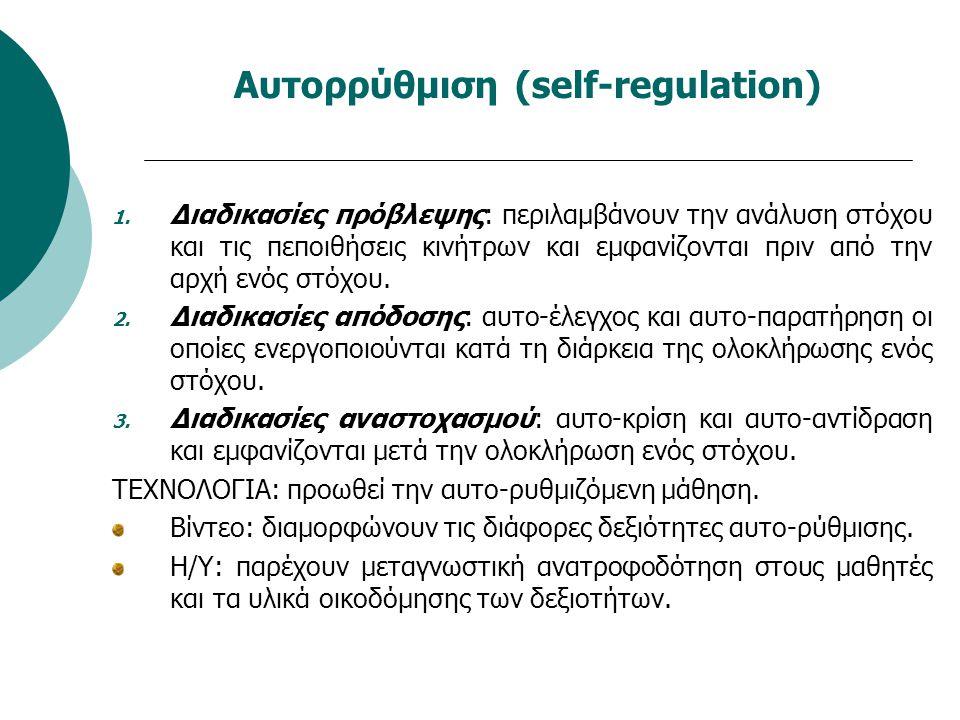 Αυτορρύθμιση (self-regulation) 1. Διαδικασίες πρόβλεψης: περιλαμβάνουν την ανάλυση στόχου και τις πεποιθήσεις κινήτρων και εμφανίζονται πριν από την α
