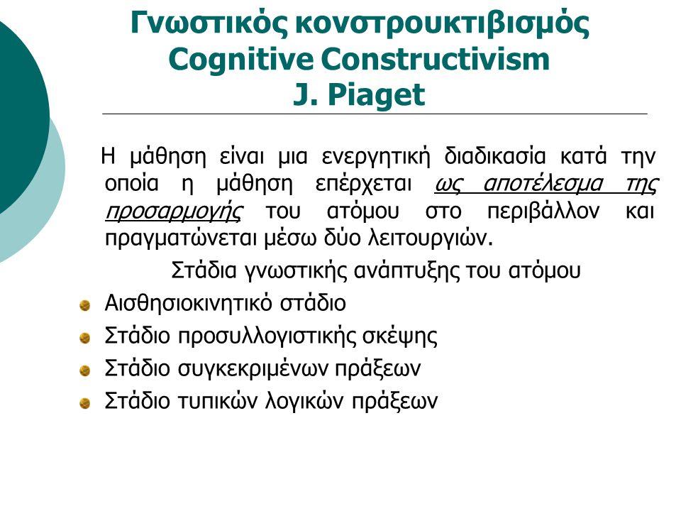 Γνωστικός κονστρουκτιβισμός Cognitive Constructivism J. Piaget Η μάθηση είναι μια ενεργητική διαδικασία κατά την οποία η μάθηση επέρχεται ως αποτέλεσμ
