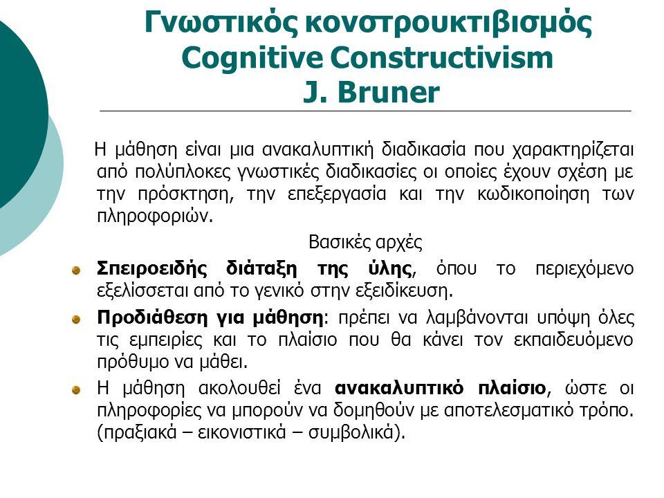Γνωστικός κονστρουκτιβισμός Cognitive Constructivism J. Bruner Η μάθηση είναι μια ανακαλυπτική διαδικασία που χαρακτηρίζεται από πολύπλοκες γνωστικές