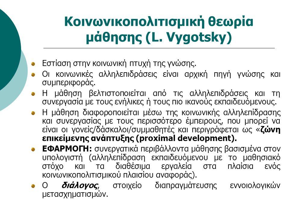Κοινωνικοπολιτισμική θεωρία μάθησης (L. Vygotsky) Εστίαση στην κοινωνική πτυχή της γνώσης. Οι κοινωνικές αλληλεπιδράσεις είναι αρχική πηγή γνώσης και