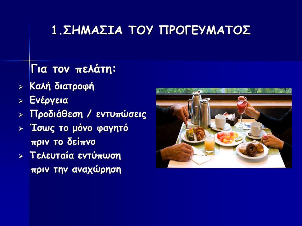 1.ΣΗΜΑΣΙΑ ΤΟΥ ΠΡΟΓΕΥΜΑΤΟΣ Για τον πελάτη: Για τον πελάτη:  Καλή διατροφή  Ενέργεια  Προδιάθεση / εντυπώσεις  Ίσως το μόνο φαγητό πριν το δείπνο πρ