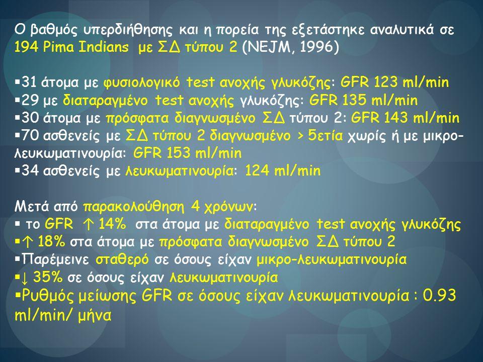 Ο βαθμός υπερδιήθησης και η πορεία της εξετάστηκε αναλυτικά σε 194 Pima Indians με ΣΔ τύπου 2 (NEJM, 1996)  31 άτομα με φυσιολογικό test ανοχής γλυκό