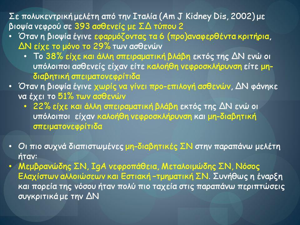 Σε πολυκεντρική μελέτη από την Ιταλία (Am J Kidney Dis, 2002) με βιοψία νεφρού σε 393 ασθενείς με ΣΔ τύπου 2 Όταν η βιοψία έγινε εφαρμόζοντας τα 6 (πρ