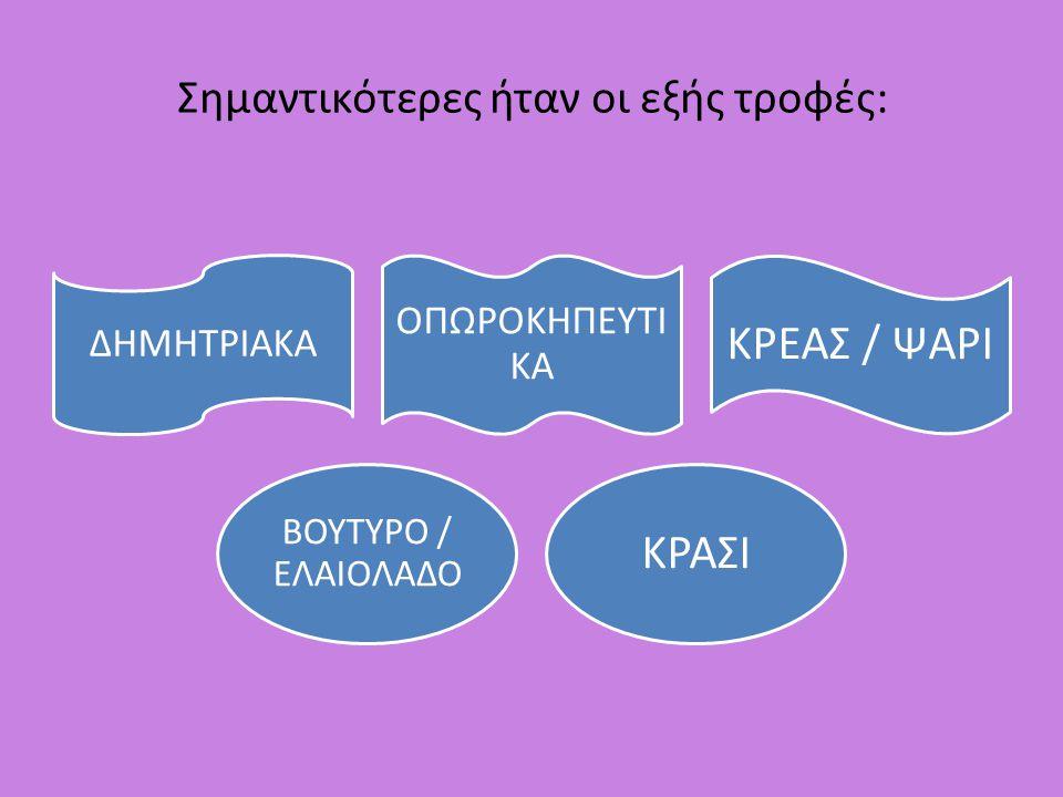 1.ΔΗΜΗΤΡΙΑΚΑ Στη βάση της διατροφής των αρχαίων Ελλήνων συναντούμε τα δημητριακά.