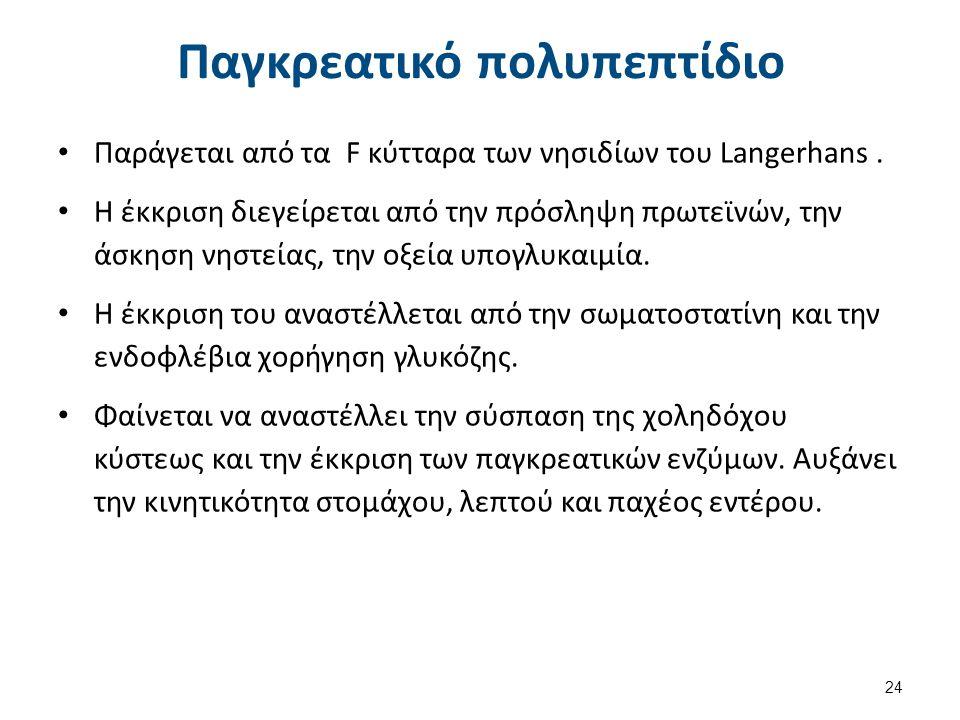 Παγκρεατικό πολυπεπτίδιο Παράγεται από τα F κύτταρα των νησιδίων του Langerhans. H έκκριση διεγείρεται από την πρόσληψη πρωτεϊνών, την άσκηση νηστείας