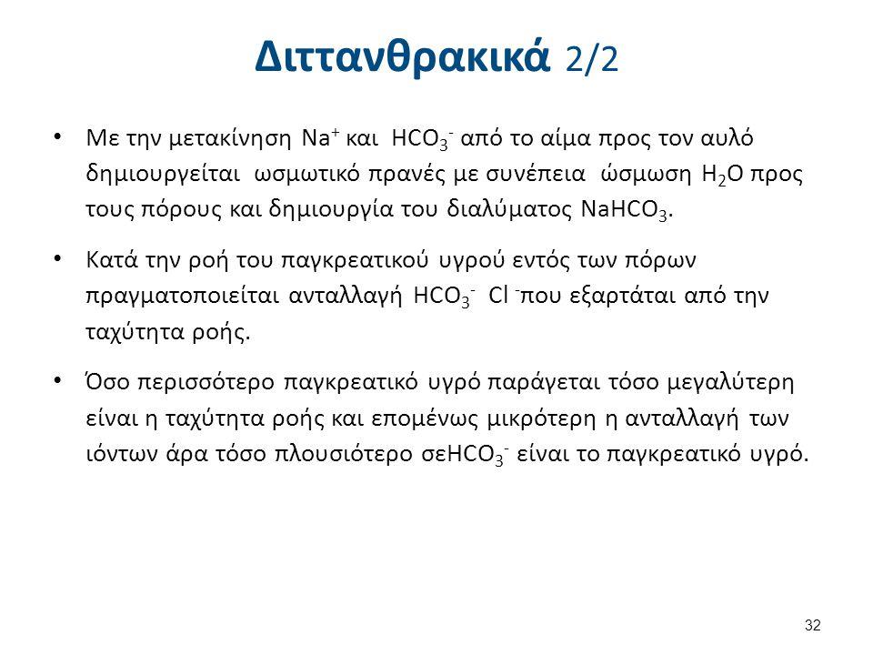 Διττανθρακικά 2/2 Με την μετακίνηση Na + και ΗCO 3 - από το αίμα προς τον αυλό δημιουργείται ωσμωτικό πρανές με συνέπεια ώσμωση Η 2 Ο προς τους πόρους