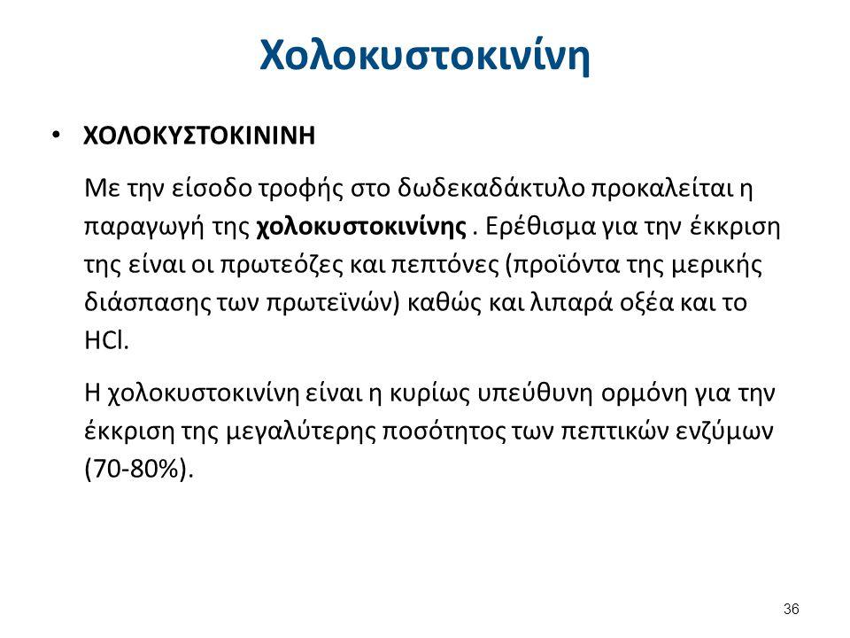 Χολοκυστοκινίνη ΧΟΛΟΚΥΣΤΟΚΙΝΙΝΗ Με την είσοδο τροφής στο δωδεκαδάκτυλο προκαλείται η παραγωγή της χολοκυστοκινίνης. Ερέθισμα για την έκκριση της είναι