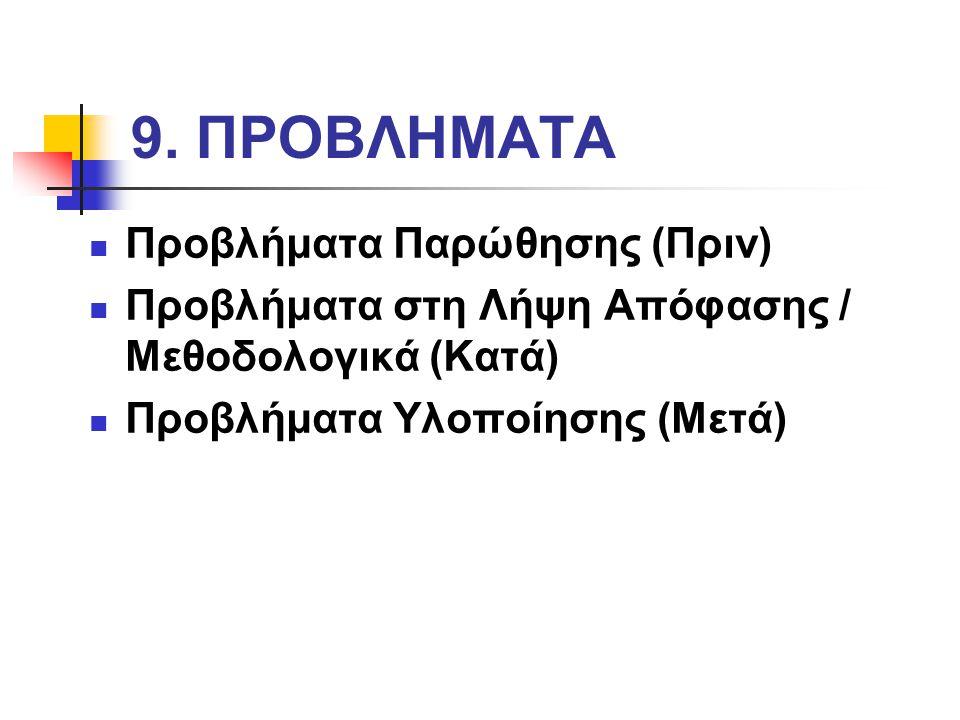 9. ΠΡΟΒΛΗΜΑΤΑ Προβλήματα Παρώθησης (Πριν) Προβλήματα στη Λήψη Απόφασης / Μεθοδολογικά (Κατά) Προβλήματα Υλοποίησης (Μετά)
