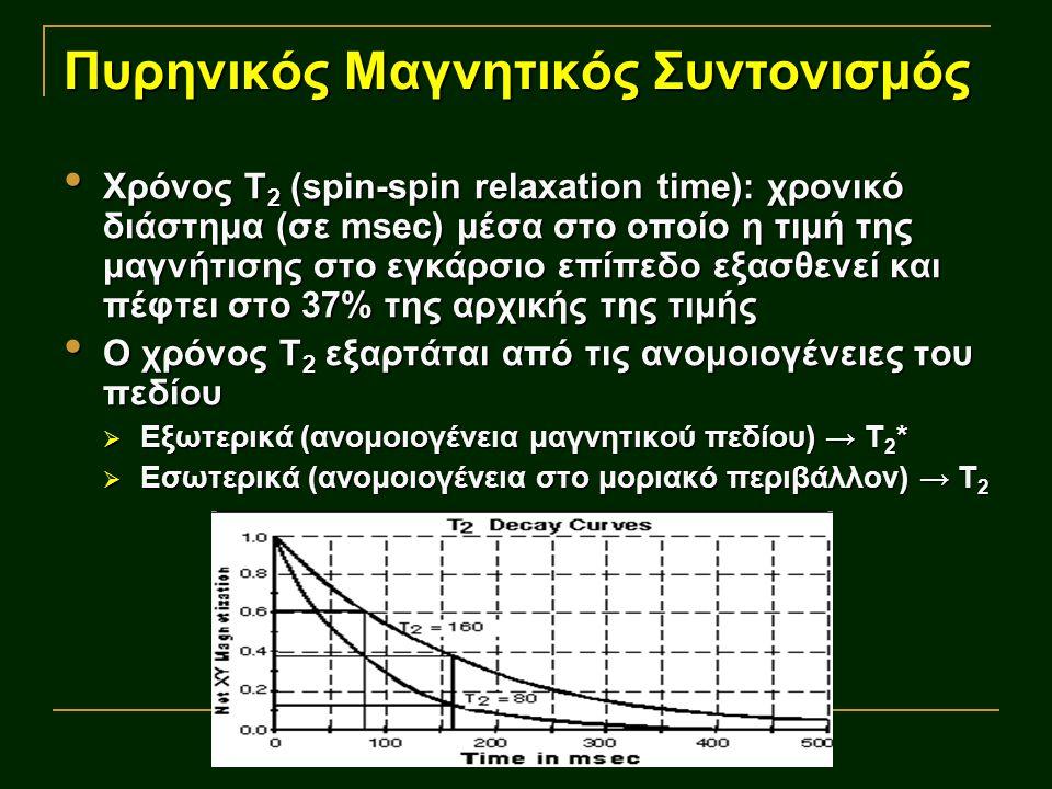 Πυρηνικός Μαγνητικός Συντονισμός Χρόνος Τ 2 (spin-spin relaxation time): χρονικό διάστημα (σε msec) μέσα στο οποίο η τιμή της μαγνήτισης στο εγκάρσιο επίπεδο εξασθενεί και πέφτει στο 37% της αρχικής της τιμής Χρόνος Τ 2 (spin-spin relaxation time): χρονικό διάστημα (σε msec) μέσα στο οποίο η τιμή της μαγνήτισης στο εγκάρσιο επίπεδο εξασθενεί και πέφτει στο 37% της αρχικής της τιμής Ο χρόνος Τ 2 εξαρτάται από τις ανομοιογένειες του πεδίου Ο χρόνος Τ 2 εξαρτάται από τις ανομοιογένειες του πεδίου  Εξωτερικά (ανομοιογένεια μαγνητικού πεδίου) → Τ 2 *  Εσωτερικά (ανομοιογένεια στο μοριακό περιβάλλον) → Τ 2