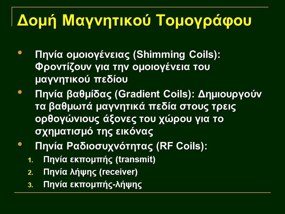 Δομή Μαγνητικού Τομογράφου Πηνία ομοιογένειας (Shimming Coils): Φροντίζουν για την ομοιογένεια του μαγνητικού πεδίου Πηνία ομοιογένειας (Shimming Coils): Φροντίζουν για την ομοιογένεια του μαγνητικού πεδίου Πηνία βαθμίδας (Gradient Coils): Δημιουργούν τα βαθμωτά μαγνητικά πεδία στους τρεις ορθογώνιους άξονες του χώρου για το σχηματισμό της εικόνας Πηνία βαθμίδας (Gradient Coils): Δημιουργούν τα βαθμωτά μαγνητικά πεδία στους τρεις ορθογώνιους άξονες του χώρου για το σχηματισμό της εικόνας Πηνία Ραδιοσυχνότητας (RF Coils): Πηνία Ραδιοσυχνότητας (RF Coils): 1.