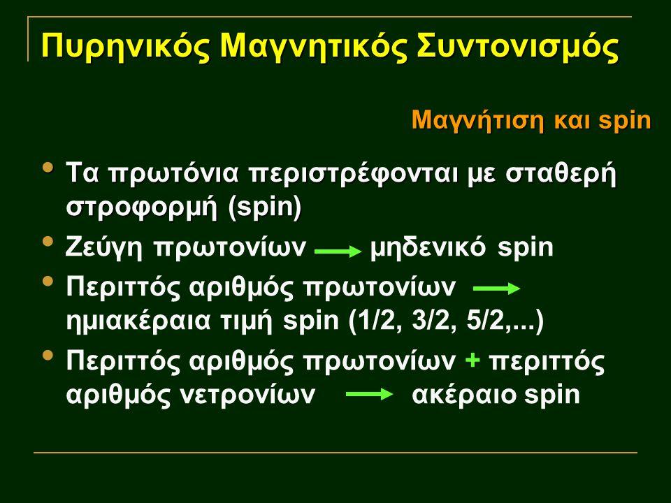 Πυρηνικός Μαγνητικός Συντονισμός Τα πρωτόνια περιστρέφονται με σταθερή στροφορμή (spin) Τα πρωτόνια περιστρέφονται με σταθερή στροφορμή (spin) Ζεύγη πρωτονίων μηδενικό spin Περιττός αριθμός πρωτονίων ημιακέραια τιμή spin (1/2, 3/2, 5/2,...) Περιττός αριθμός πρωτονίων + περιττός αριθμός νετρονίων ακέραιο spin Μαγνήτιση και spin
