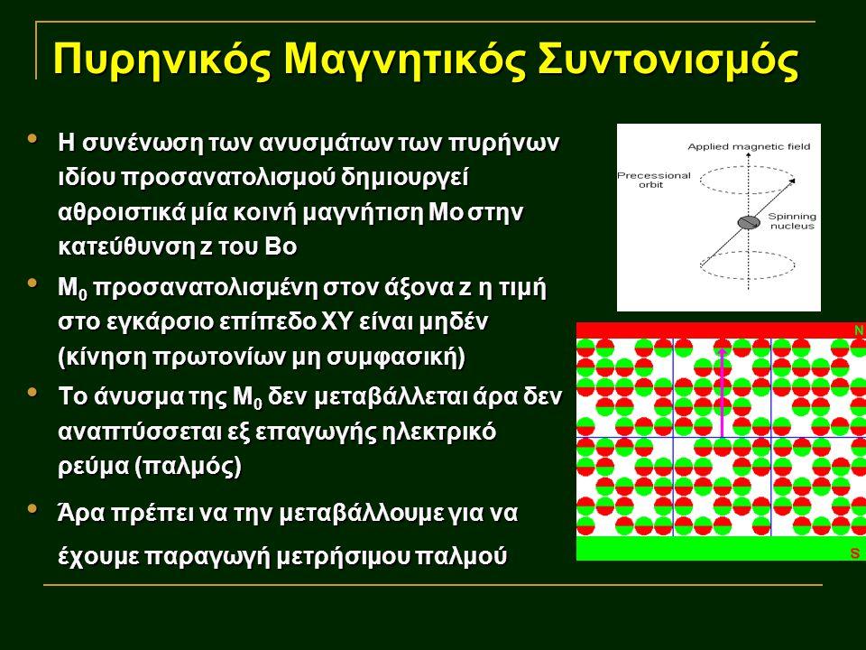 Πυρηνικός Μαγνητικός Συντονισμός Τα πρωτόνια χαμηλής ενεργειακής στάθμης εκτελούν περιστροφική κίνηση υπό γωνία θ - κίνηση μετάπτωσης Τα πρωτόνια χαμηλής ενεργειακής στάθμης εκτελούν περιστροφική κίνηση υπό γωνία θ - κίνηση μετάπτωσης Η συχνότητα της μεταπτωτικής γωνιακής περιστροφής γύρω από τον z είναι χαρακτηριστική για κάθε πυρήνα συχνότητα Larmor Η συχνότητα της μεταπτωτικής γωνιακής περιστροφής γύρω από τον z είναι χαρακτηριστική για κάθε πυρήνα συχνότητα Larmor