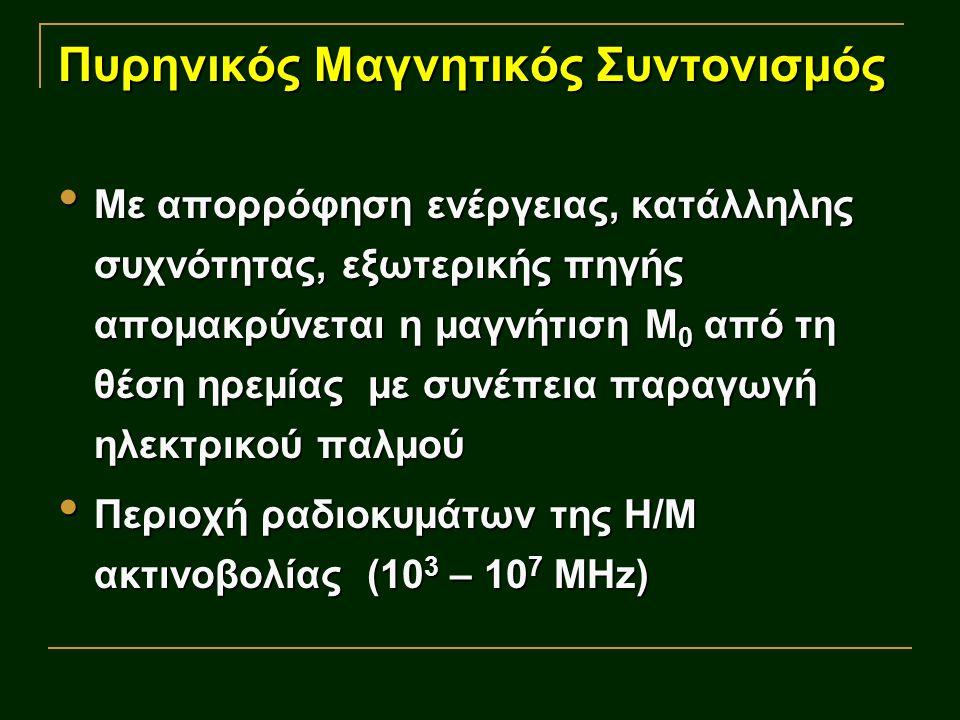Πυρηνικός Μαγνητικός Συντονισμός Με απορρόφηση ενέργειας, κατάλληλης συχνότητας, εξωτερικής πηγής απομακρύνεται η μαγνήτιση Μ 0 από τη θέση ηρεμίας με συνέπεια παραγωγή ηλεκτρικού παλμού Με απορρόφηση ενέργειας, κατάλληλης συχνότητας, εξωτερικής πηγής απομακρύνεται η μαγνήτιση Μ 0 από τη θέση ηρεμίας με συνέπεια παραγωγή ηλεκτρικού παλμού Περιοχή ραδιοκυμάτων της Η/Μ ακτινοβολίας (10 3 – 10 7 ΜHz) Περιοχή ραδιοκυμάτων της Η/Μ ακτινοβολίας (10 3 – 10 7 ΜHz)