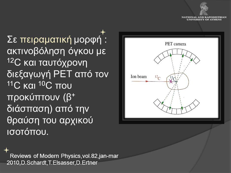 Σε πειραματική μορφή : ακτινοβόληση όγκου με 12 C και ταυτόχρονη διεξαγωγή PET από τον 11 C και 10 C που προκύπτουν (β + διάσπαση) από την θραύση του