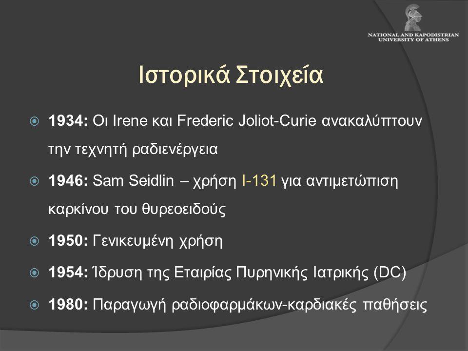 Ιστορικά Στοιχεία  1934: Οι Irene και Frederic Joliot-Curie ανακαλύπτουν την τεχνητή ραδιενέργεια  1946: Sam Seidlin – χρήση Ι-131 για αντιμετώπιση