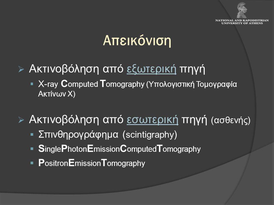 Απεικόνιση  Ακτινοβόληση από εξωτερική πηγή  X- ray C omputed T omography (Υπολογιστική Τομογραφία Ακτίνων Χ)  Ακτινοβόληση από εσωτερική πηγή (ασθ