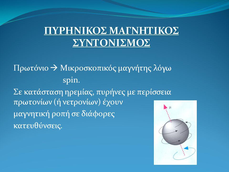 ΠΥΡΗΝΙΚΟΣ ΜΑΓΝΗΤΙΚΟΣ ΣΥΝΤΟΝΙΣΜΟΣ Πρωτόνιο  Μικροσκοπικός μαγνήτης λόγω spin. Σε κατάσταση ηρεμίας, πυρήνες με περίσσεια πρωτονίων (ή νετρονίων) έχουν