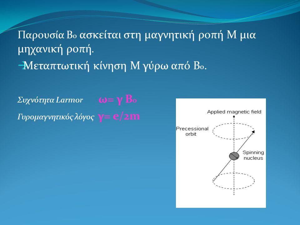 Παρουσία Β ο ασκείται στη μαγνητική ροπή Μ μια μηχανική ροπή.  Μεταπτωτική κίνηση Μ γύρω από Β ο. Συχνότητα Larmor ω= γ Β ο Γυρομαγνητικός λόγος γ= e