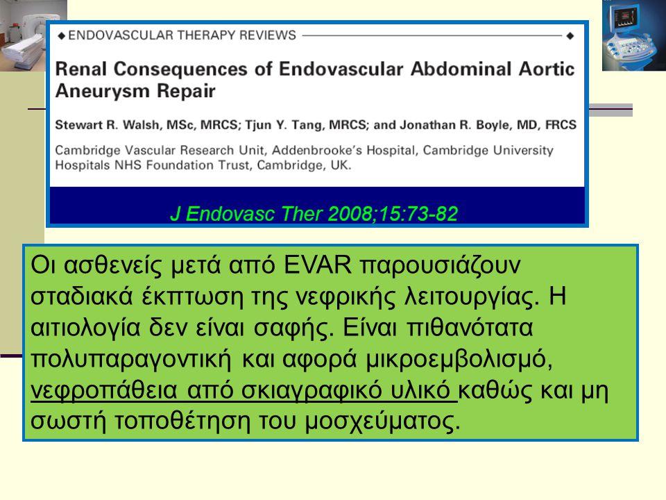 Οι ασθενείς μετά από EVAR παρουσιάζουν σταδιακά έκπτωση της νεφρικής λειτουργίας. Η αιτιολογία δεν είναι σαφής. Είναι πιθανότατα πολυπαραγοντική και α