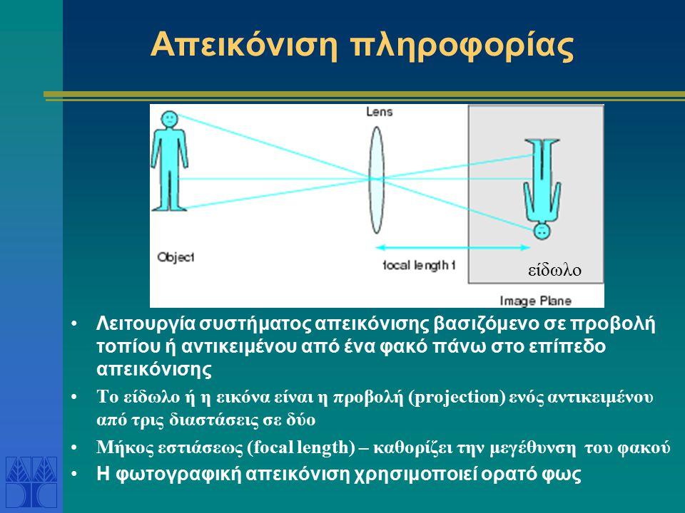 Απεικόνιση πληροφορίας Λειτουργία συστήματος απεικόνισης βασιζόμενο σε προβολή τοπίου ή αντικειμένου από ένα φακό πάνω στο επίπεδο απεικόνισης Το είδωλο ή η εικόνα είναι η προβολή (projection) ενός αντικειμένου από τρις διαστάσεις σε δύο Μήκος εστιάσεως (focal length) – καθορίζει την μεγέθυνση του φακού Η φωτογραφική απεικόνιση χρησιμοποιεί ορατό φως είδωλο