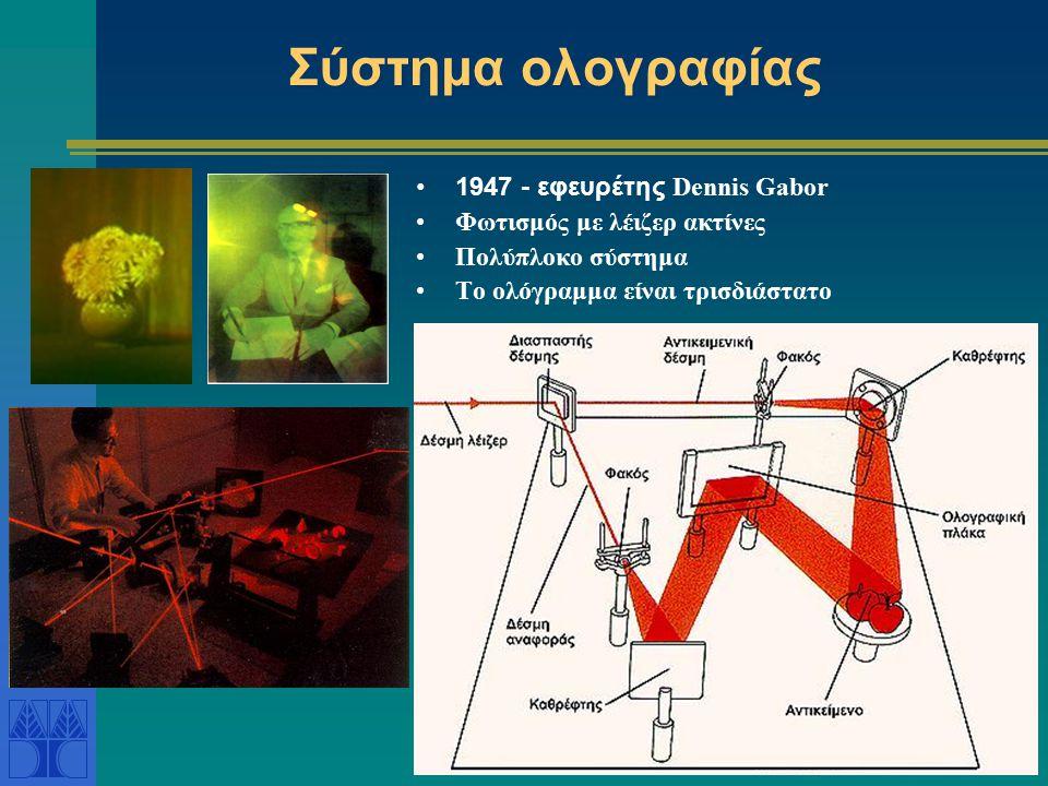 Σύστημα ολογραφίας 1947 - εφευρέτης Dennis Gabor Φωτισμός με λέιζερ ακτίνες Πολύπλοκο σύστημα Το ολόγραμμα είναι τρισδιάστατο