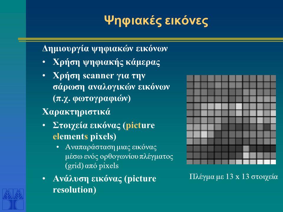Ψηφιακές εικόνες Δημιουργία ψηφιακών εικόνων Χρήση ψηφιακής κάμερας Χρήση scanner για την σάρωση αναλογικών εικόνων (π.χ.