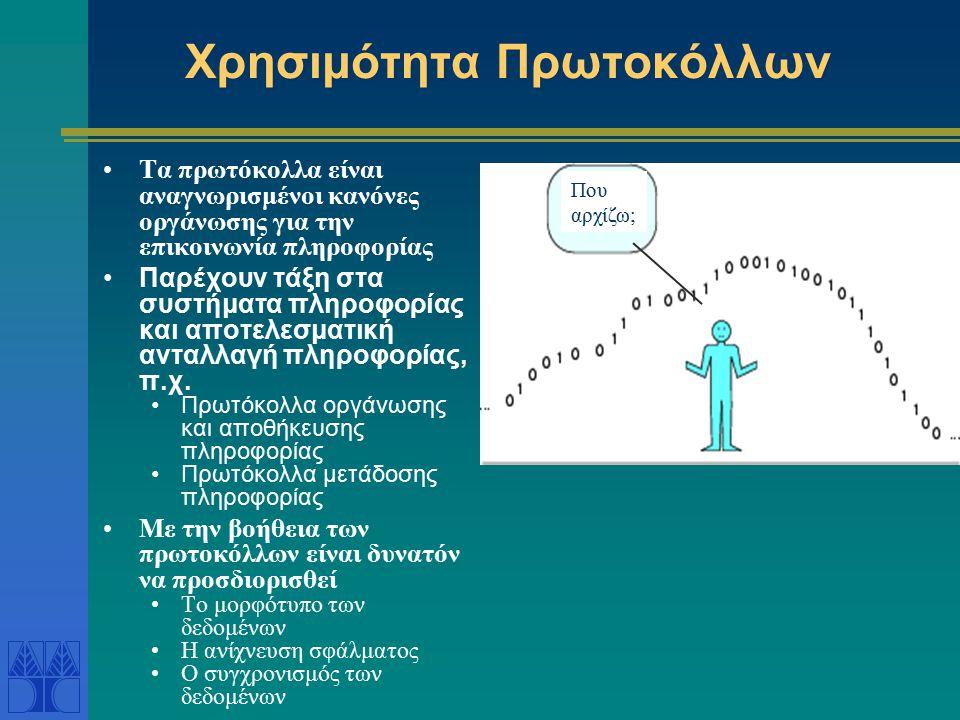 Χρησιμότητα Πρωτοκόλλων Τα πρωτόκολλα είναι αναγνωρισμένοι κανόνες οργάνωσης για την επικοινωνία πληροφορίας Παρέχουν τάξη στα συστήματα πληροφορίας και αποτελεσματική ανταλλαγή πληροφορίας, π.χ.