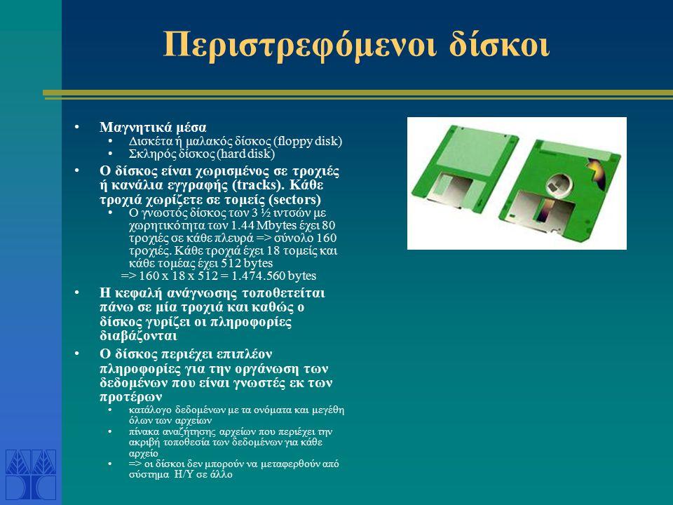 Περιστρεφόμενοι δίσκοι Μαγνητικά μέσα Δισκέτα ή μαλακός δίσκος (floppy disk) Σκληρός δίσκος (hard disk) Ο δίσκος είναι χωρισμένος σε τροχιές ή κανάλια εγγραφής (tracks).