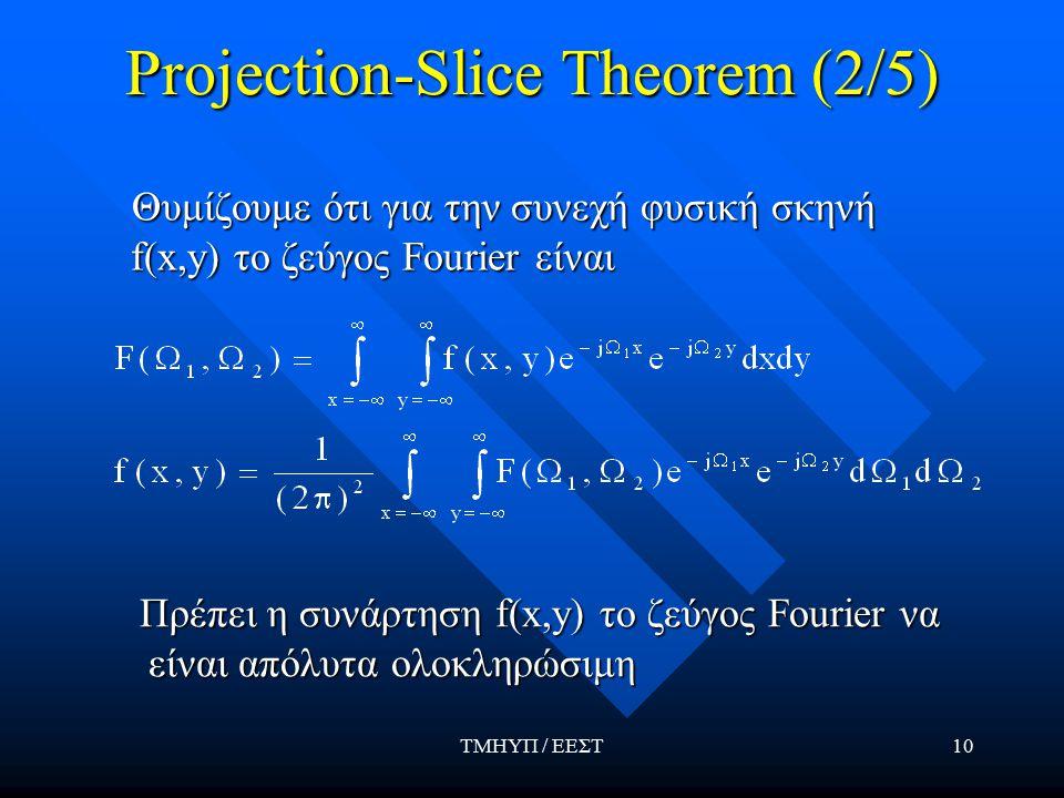 ΤΜΗΥΠ / ΕΕΣΤ10 Projection-Slice Theorem (2/5) Θυμίζουμε ότι για την συνεχή φυσική σκηνή f(x,y) το ζεύγος Fourier είναι Θυμίζουμε ότι για την συνεχή φυσική σκηνή f(x,y) το ζεύγος Fourier είναι Πρέπει η συνάρτηση f(x,y) το ζεύγος Fourier να είναι απόλυτα ολοκληρώσιμη Πρέπει η συνάρτηση f(x,y) το ζεύγος Fourier να είναι απόλυτα ολοκληρώσιμη