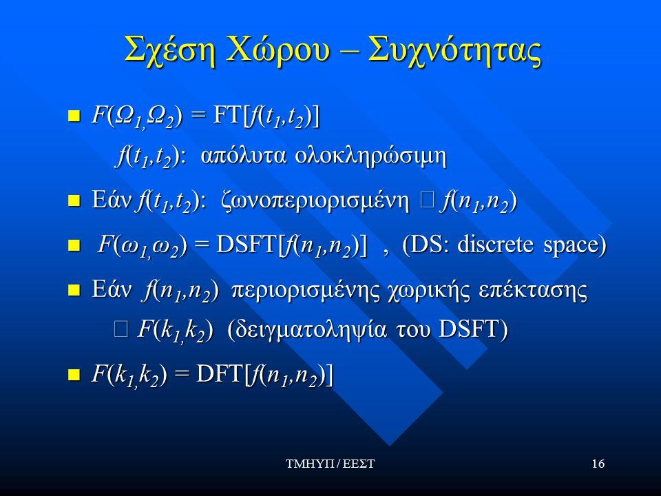 ΤΜΗΥΠ / ΕΕΣΤ16 Σχέση Χώρου – Συχνότητας F(Ω 1, Ω 2 ) = FT[f(t 1,t 2 )] F(Ω 1, Ω 2 ) = FT[f(t 1,t 2 )] f(t 1,t 2 ): απόλυτα ολοκληρώσιμη f(t 1,t 2 ): απόλυτα ολοκληρώσιμη Εάν f(t 1,t 2 ): ζωνοπεριορισμένη  f(n 1,n 2 ) Εάν f(t 1,t 2 ): ζωνοπεριορισμένη  f(n 1,n 2 ) F(ω 1, ω 2 ) = DSFT[f(n 1,n 2 )], (DS: discrete space) F(ω 1, ω 2 ) = DSFT[f(n 1,n 2 )], (DS: discrete space) Εάν f(n 1,n 2 ) περιορισμένης χωρικής επέκτασης Εάν f(n 1,n 2 ) περιορισμένης χωρικής επέκτασης  F(k 1, k 2 ) (δειγματοληψία του DSFT)  F(k 1, k 2 ) (δειγματοληψία του DSFT) F(k 1, k 2 ) = DFT[f(n 1,n 2 )] F(k 1, k 2 ) = DFT[f(n 1,n 2 )]