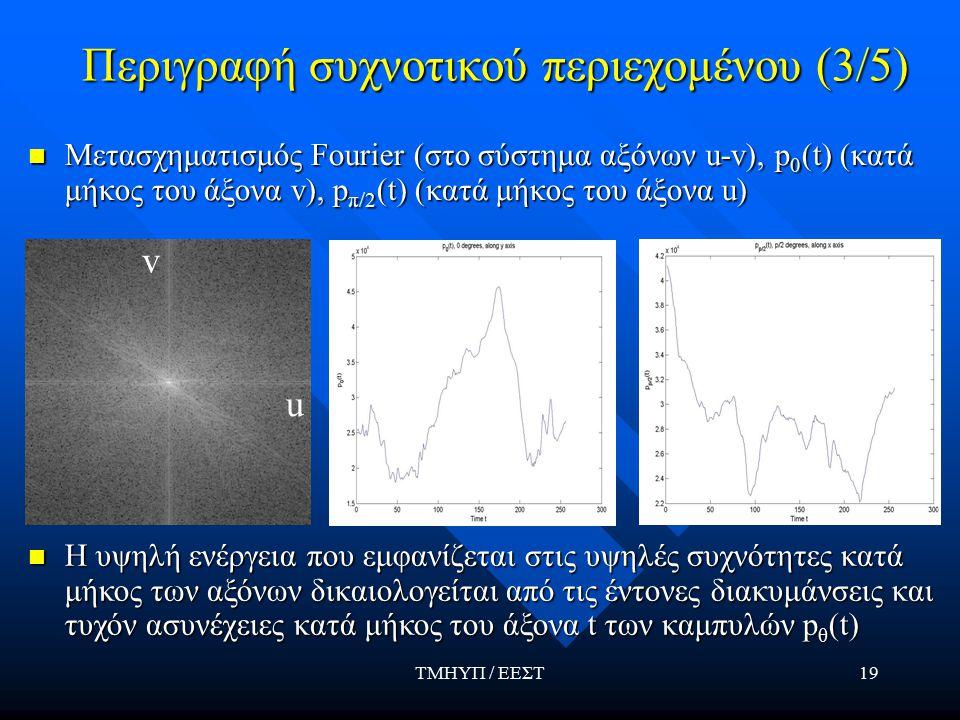 ΤΜΗΥΠ / ΕΕΣΤ19 Περιγραφή συχνοτικού περιεχομένου (3/5) Μετασχηματισμός Fourier (στο σύστημα αξόνων u-v), p 0 (t) (κατά μήκος του άξονα v), p π/2 (t) (κατά μήκος του άξονα u) Η υψηλή ενέργεια που εμφανίζεται στις υψηλές συχνότητες κατά μήκος των αξόνων δικαιολογείται από τις έντονες διακυμάνσεις και τυχόν ασυνέχειες κατά μήκος του άξονα t των καμπυλών p θ (t) Η υψηλή ενέργεια που εμφανίζεται στις υψηλές συχνότητες κατά μήκος των αξόνων δικαιολογείται από τις έντονες διακυμάνσεις και τυχόν ασυνέχειες κατά μήκος του άξονα t των καμπυλών p θ (t) v u
