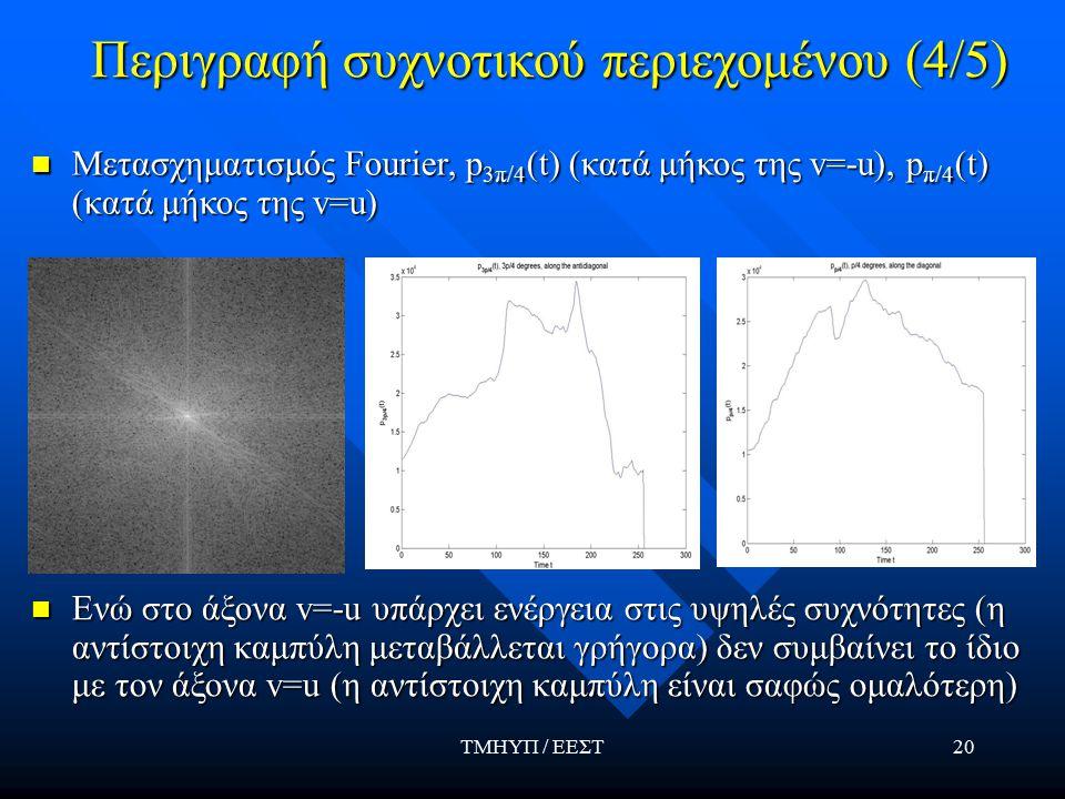 ΤΜΗΥΠ / ΕΕΣΤ20 Περιγραφή συχνοτικού περιεχομένου (4/5) Μετασχηματισμός Fourier, p 3π/4 (t) (κατά μήκος της v=-u), p π/4 (t) (κατά μήκος της v=u) Μετασχηματισμός Fourier, p 3π/4 (t) (κατά μήκος της v=-u), p π/4 (t) (κατά μήκος της v=u) Ενώ στο άξονα v=-u υπάρχει ενέργεια στις υψηλές συχνότητες (η αντίστοιχη καμπύλη μεταβάλλεται γρήγορα) δεν συμβαίνει το ίδιο με τον άξονα v=u (η αντίστοιχη καμπύλη είναι σαφώς ομαλότερη) Ενώ στο άξονα v=-u υπάρχει ενέργεια στις υψηλές συχνότητες (η αντίστοιχη καμπύλη μεταβάλλεται γρήγορα) δεν συμβαίνει το ίδιο με τον άξονα v=u (η αντίστοιχη καμπύλη είναι σαφώς ομαλότερη)