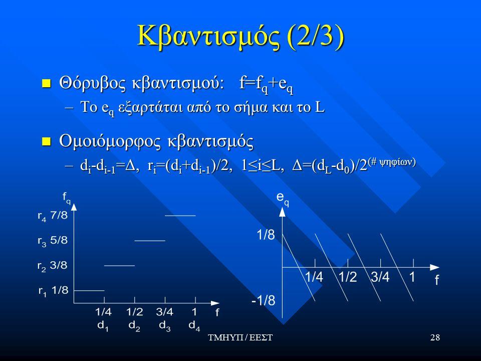 ΤΜΗΥΠ / ΕΕΣΤ28 Κβαντισμός (2/3) Θόρυβος κβαντισμού: f=f q +e q –To e q εξαρτάται από το σήμα και το L Ομοιόμορφος κβαντισμός –d i -d i-1 =Δ, r i =(d i +d i-1 )/2, 1≤i≤L, Δ=(d L -d 0 )/2 (# ψηφίων)